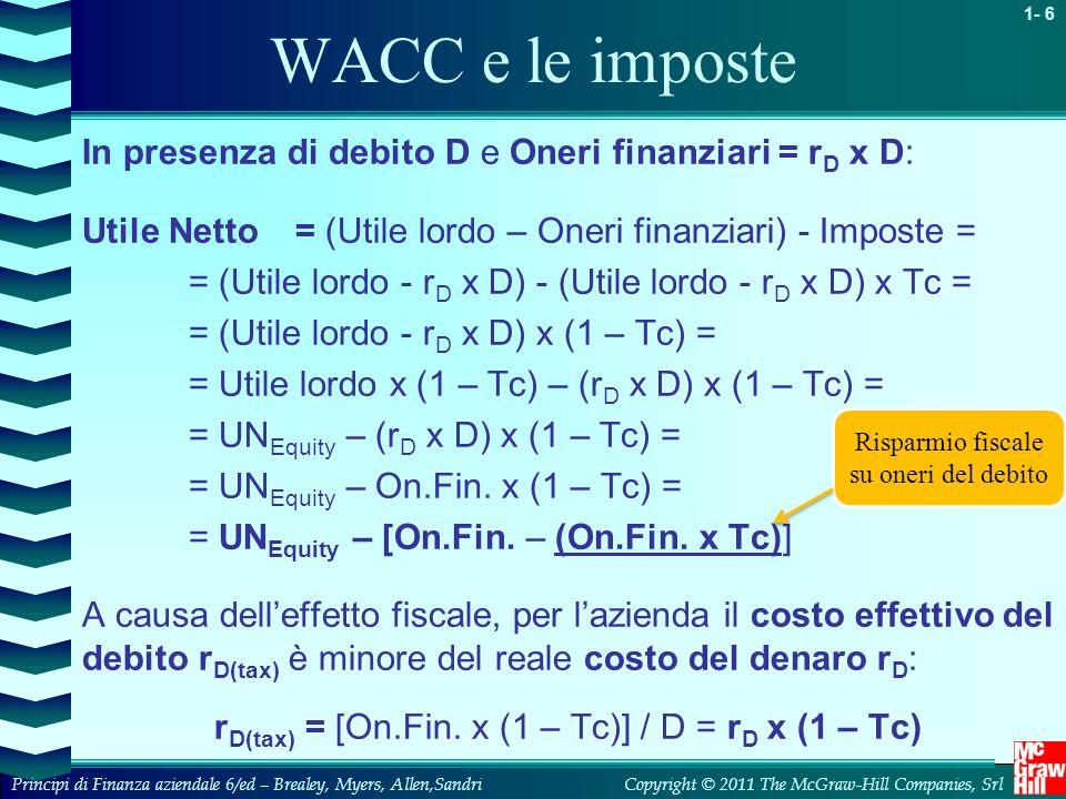 WACC e le imposte In presenza di debito D e Oneri finanziari = rD x D: