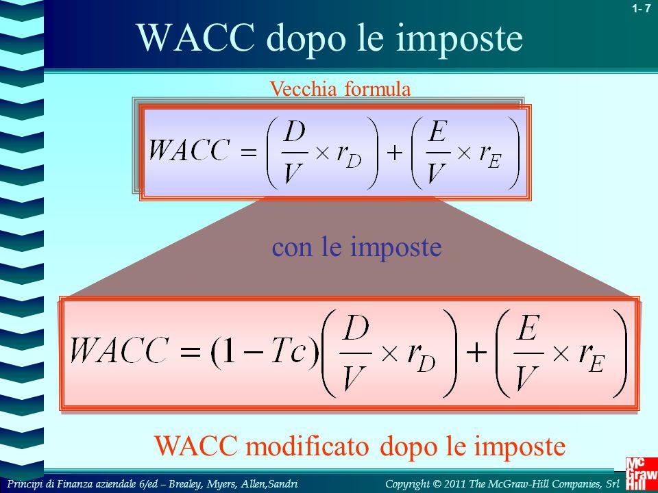 WACC modificato dopo le imposte