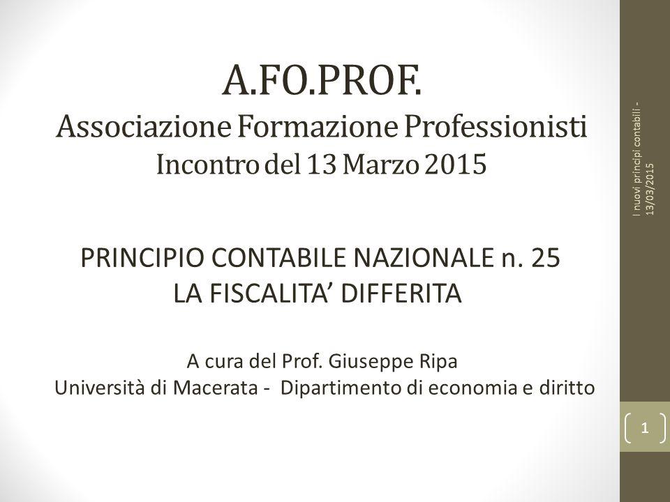 A.FO.PROF. Associazione Formazione Professionisti Incontro del 13 Marzo 2015