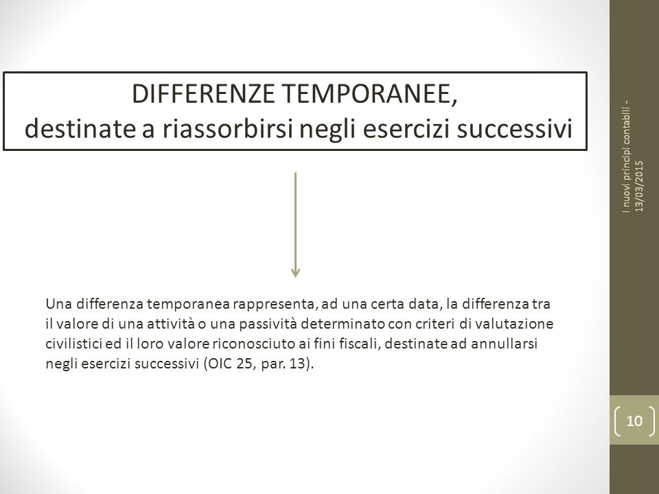 DIFFERENZE TEMPORANEE,