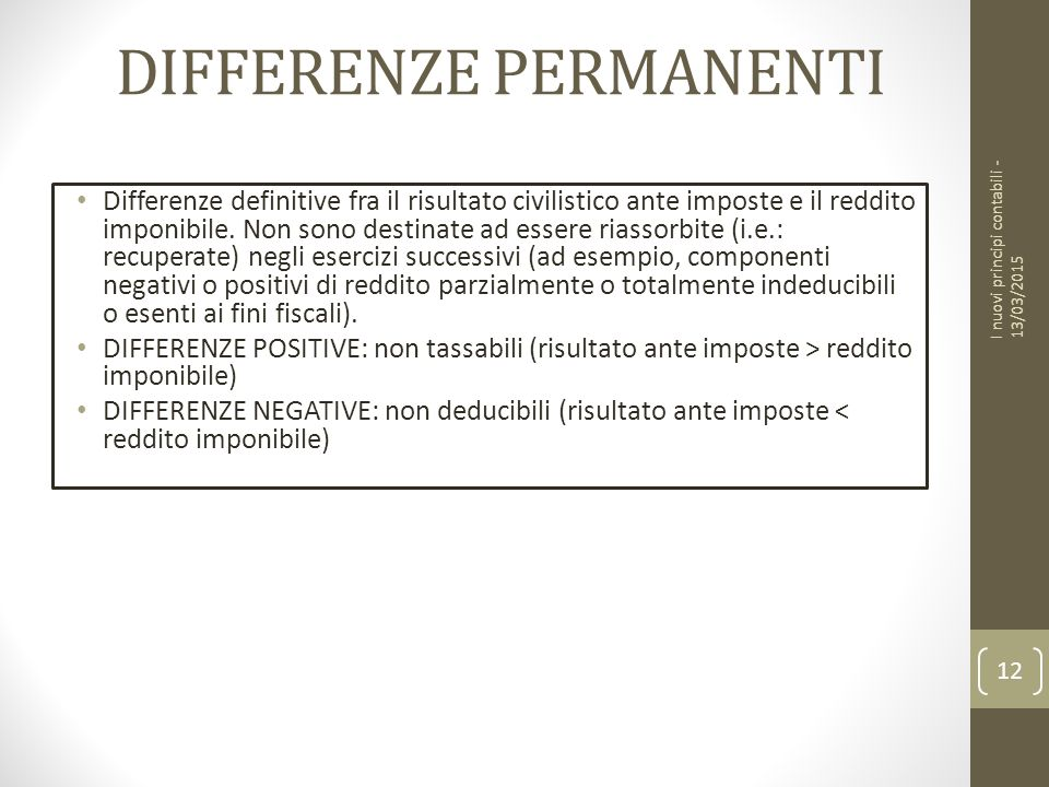 DIFFERENZE PERMANENTI