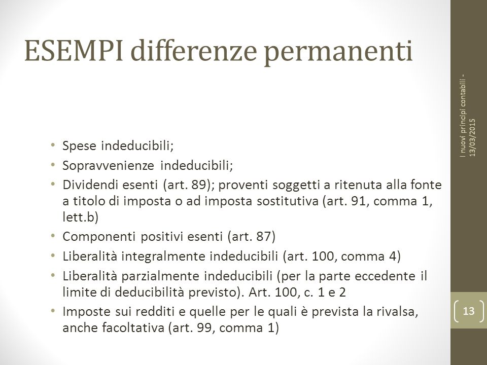 ESEMPI differenze permanenti