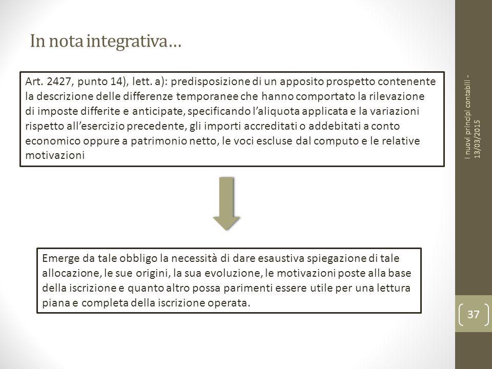 In nota integrativa… Art. 2427, punto 14), lett. a): predisposizione di un apposito prospetto contenente.