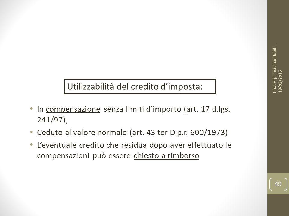Utilizzabilità del credito d'imposta: