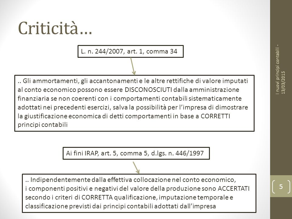 Criticità… L. n. 244/2007, art. 1, comma 34