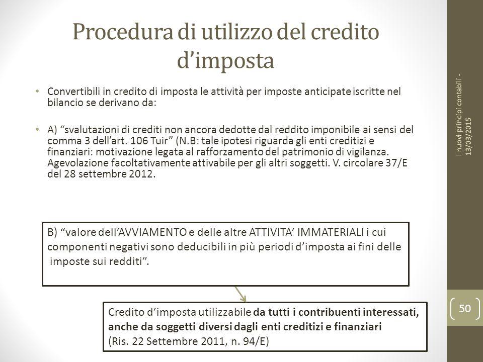 Procedura di utilizzo del credito d'imposta