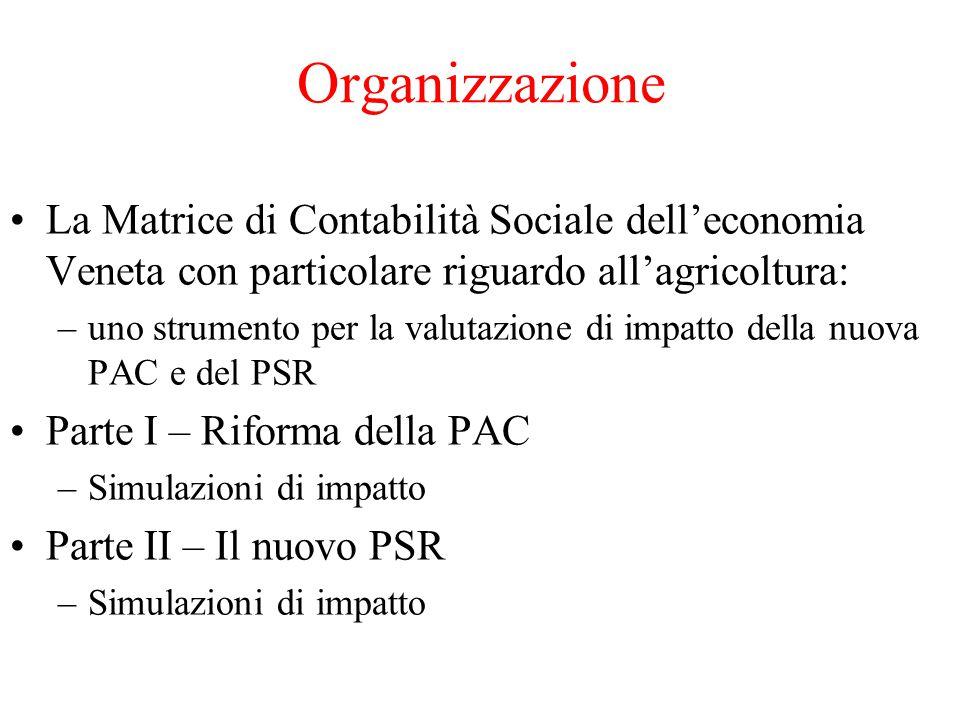 Organizzazione La Matrice di Contabilità Sociale dell'economia Veneta con particolare riguardo all'agricoltura: