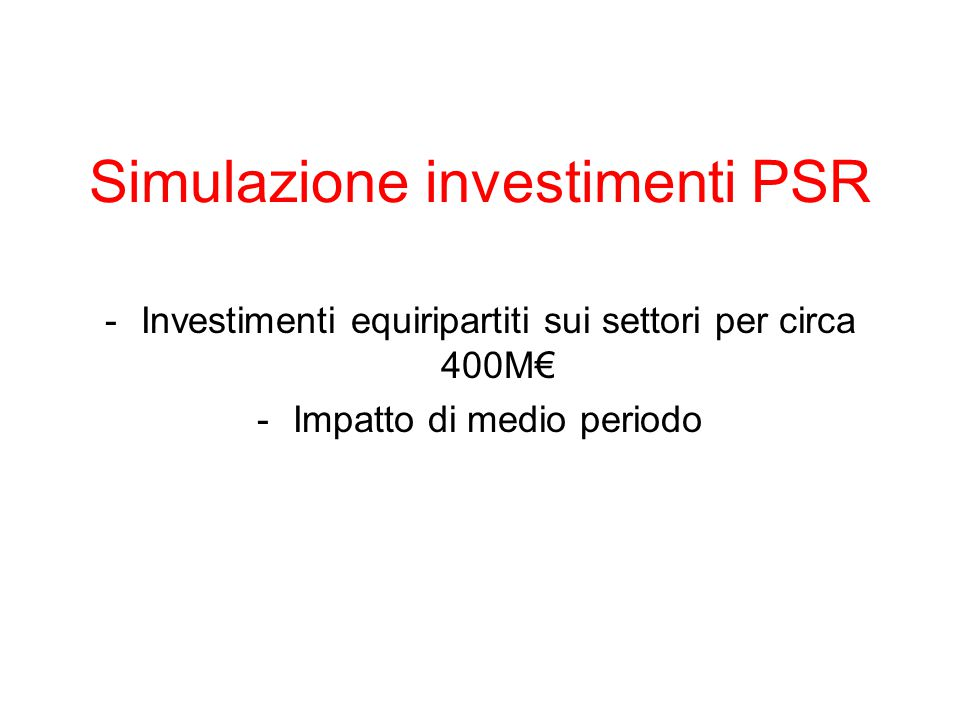 Simulazione investimenti PSR