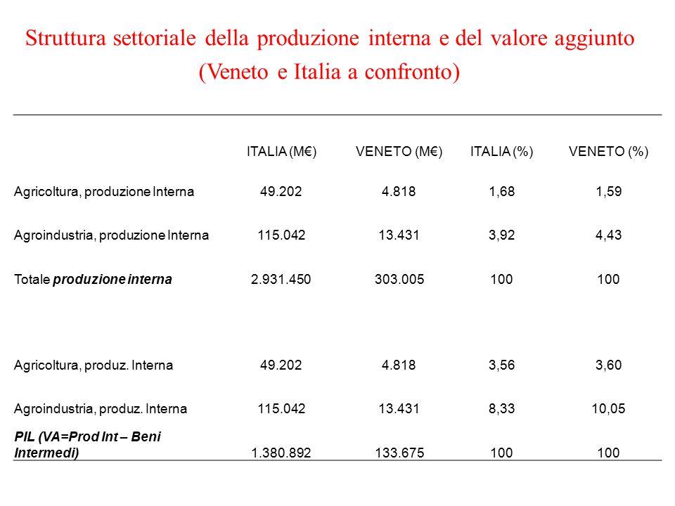 Struttura settoriale della produzione interna e del valore aggiunto