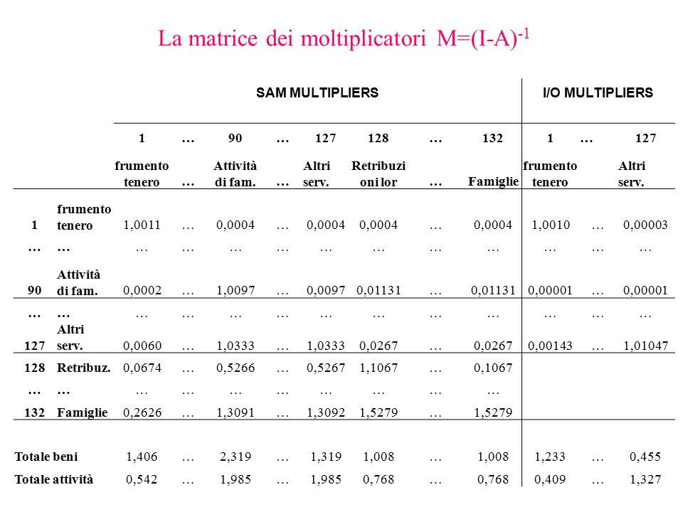 La matrice dei moltiplicatori M=(I-A)-1