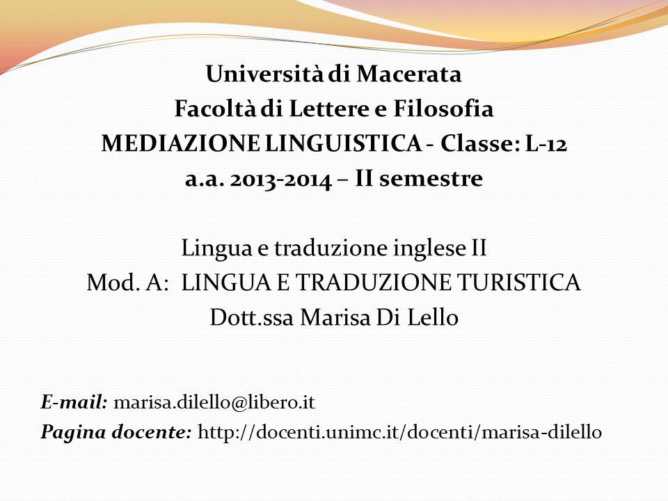 Università di Macerata Facoltà di Lettere e Filosofia