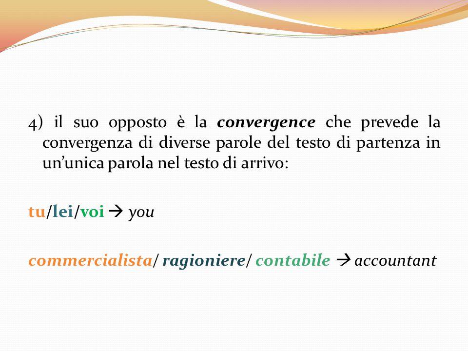 4) il suo opposto è la convergence che prevede la convergenza di diverse parole del testo di partenza in un'unica parola nel testo di arrivo: