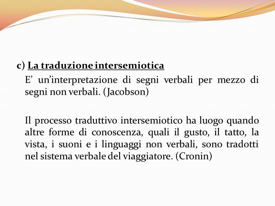 c) La traduzione intersemiotica E' un'interpretazione di segni verbali per mezzo di segni non verbali.