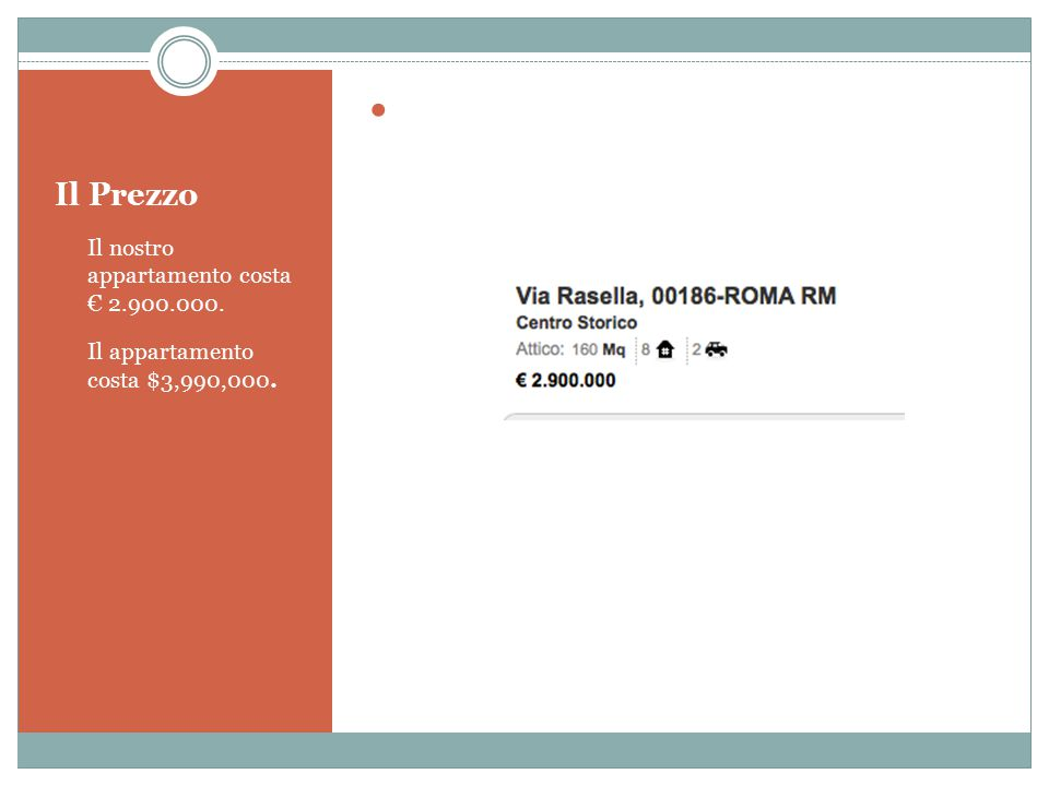 Il Prezzo Il nostro appartamento costa € 2.900.000.