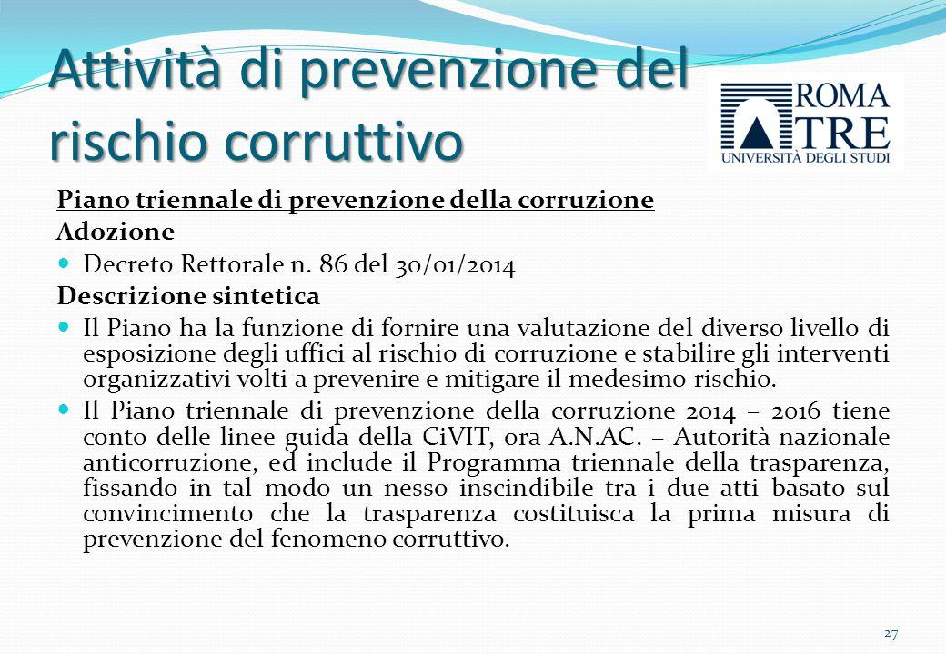 Attività di prevenzione del rischio corruttivo
