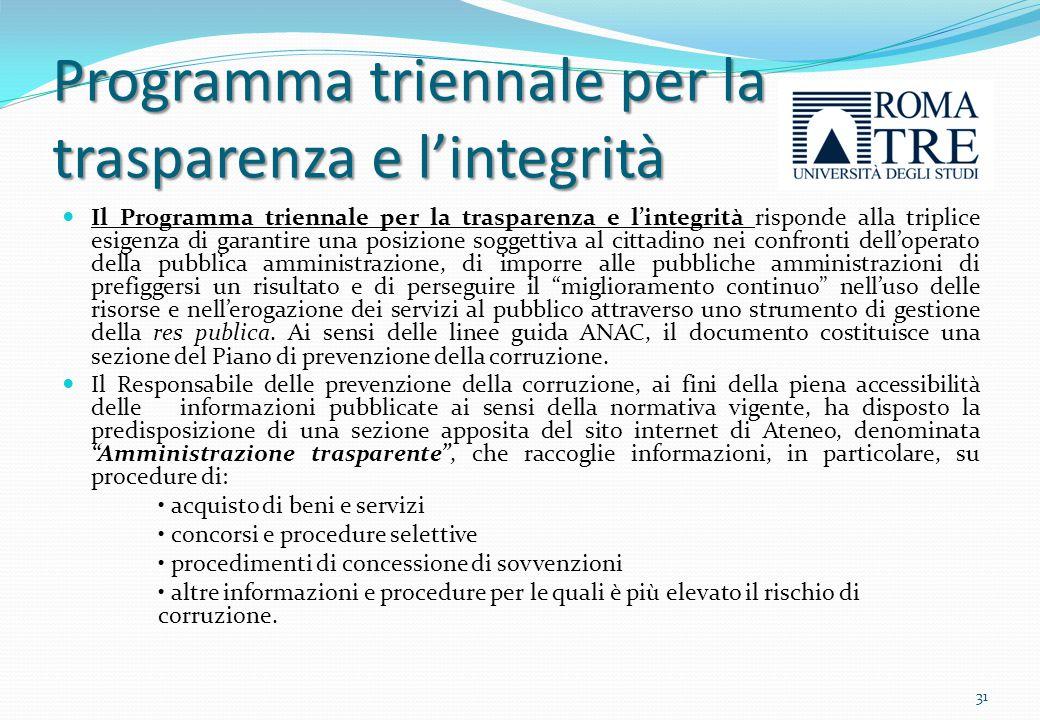 Programma triennale per la trasparenza e l'integrità