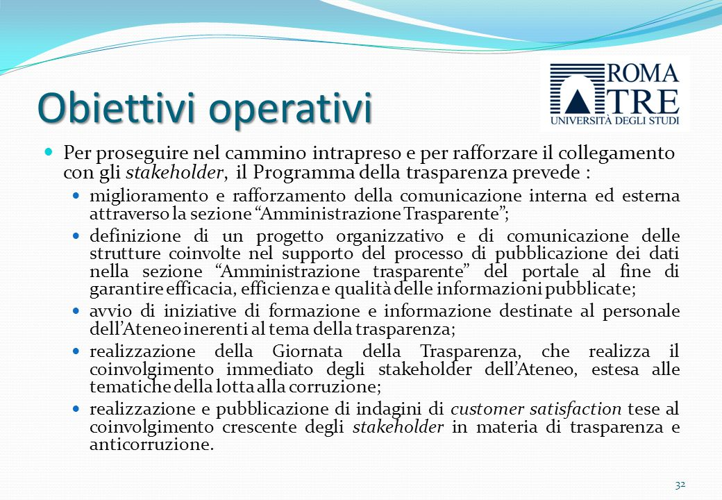 Obiettivi operativi