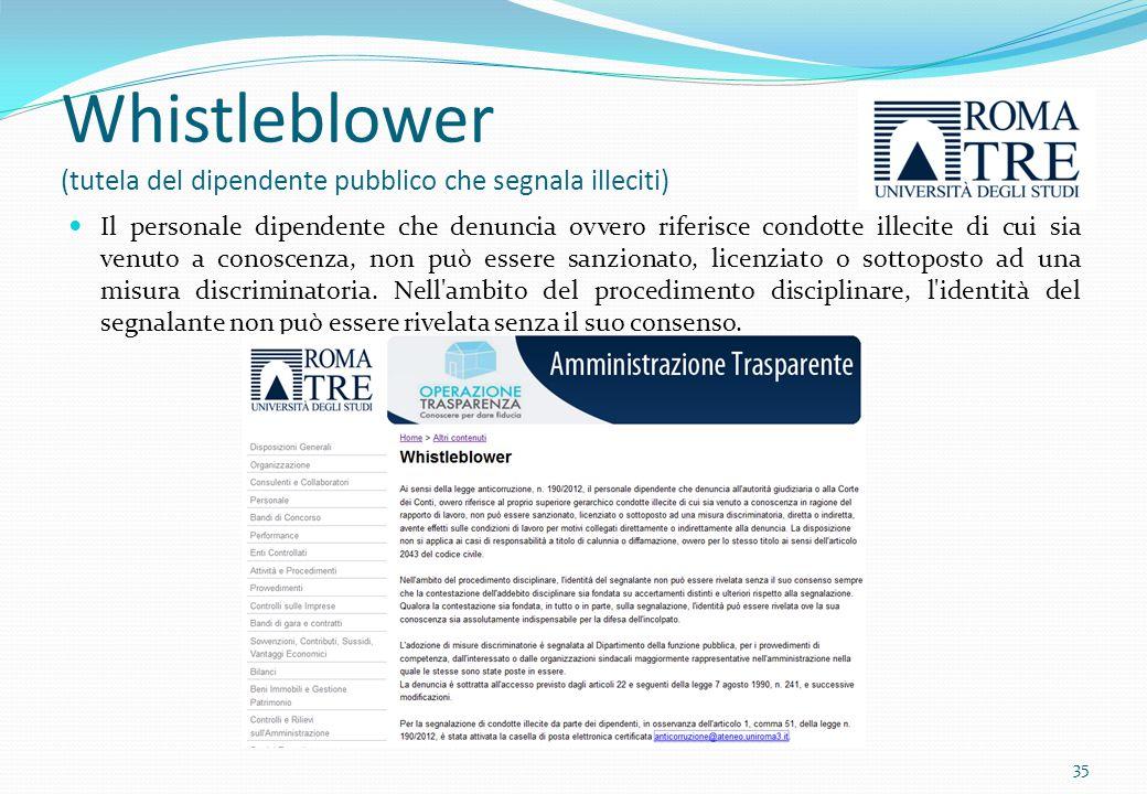 Whistleblower (tutela del dipendente pubblico che segnala illeciti)