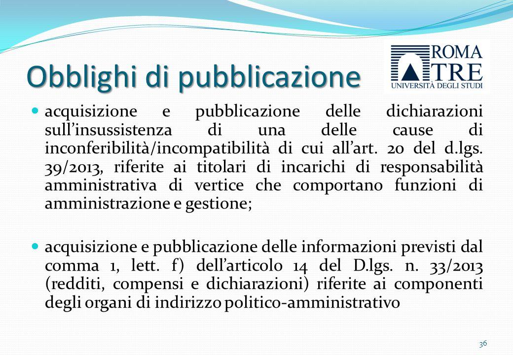 Obblighi di pubblicazione