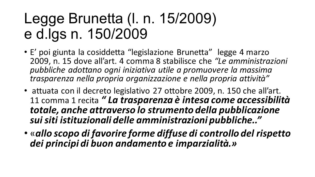 Legge Brunetta (l. n. 15/2009) e d.lgs n. 150/2009