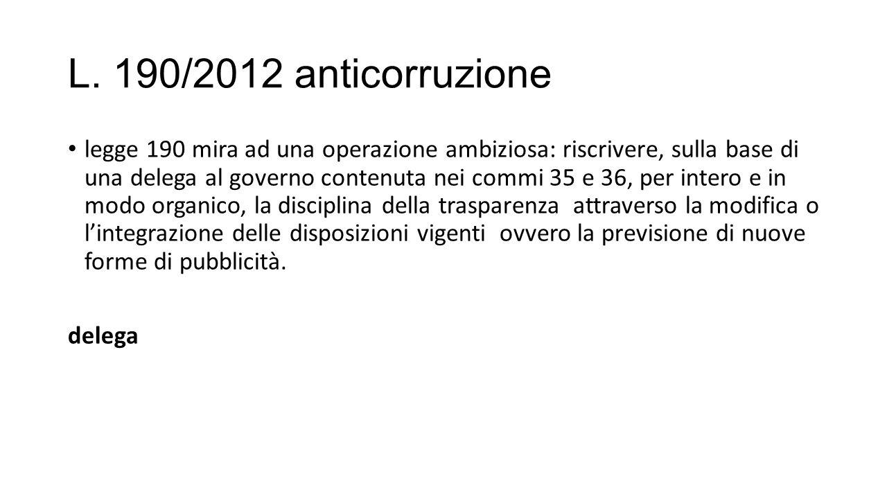 L. 190/2012 anticorruzione