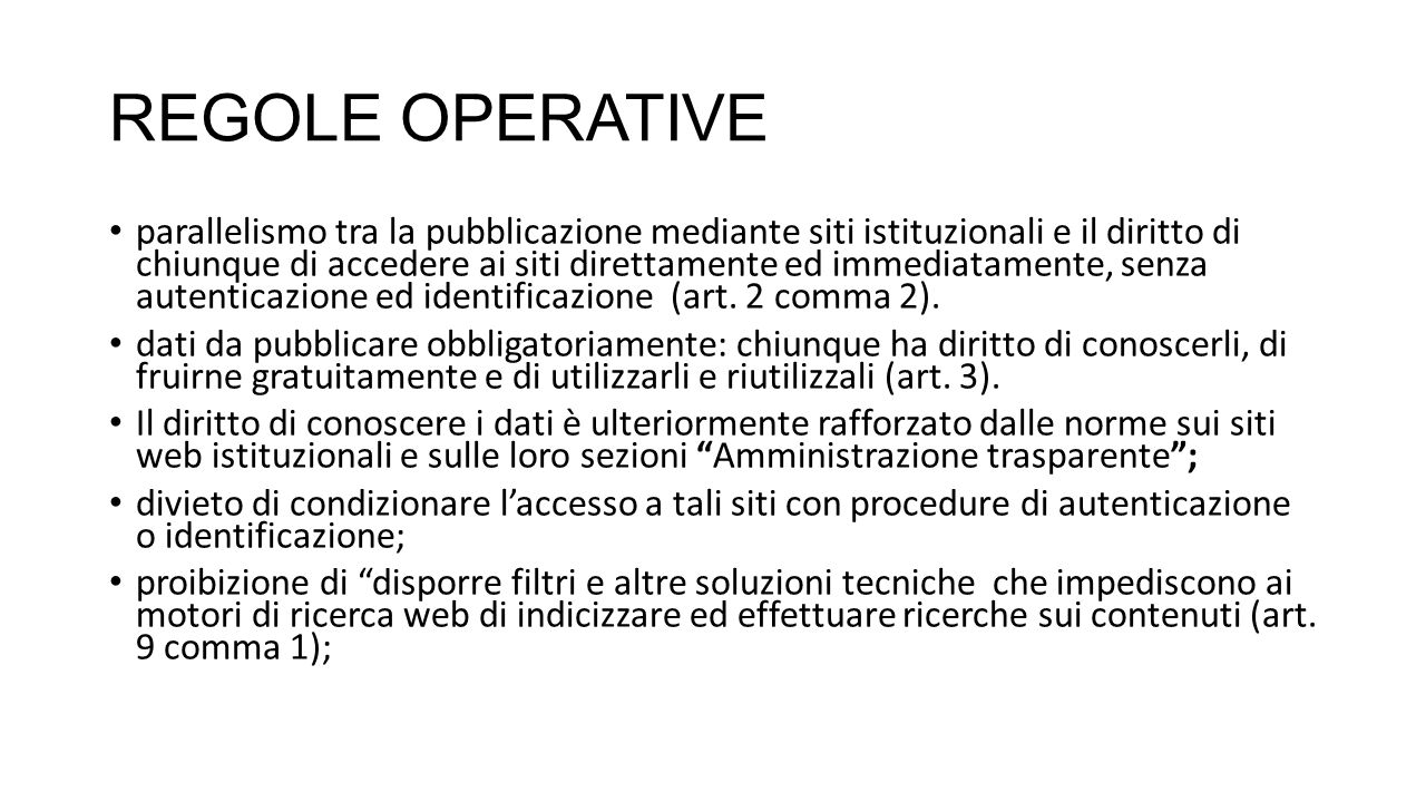 REGOLE OPERATIVE