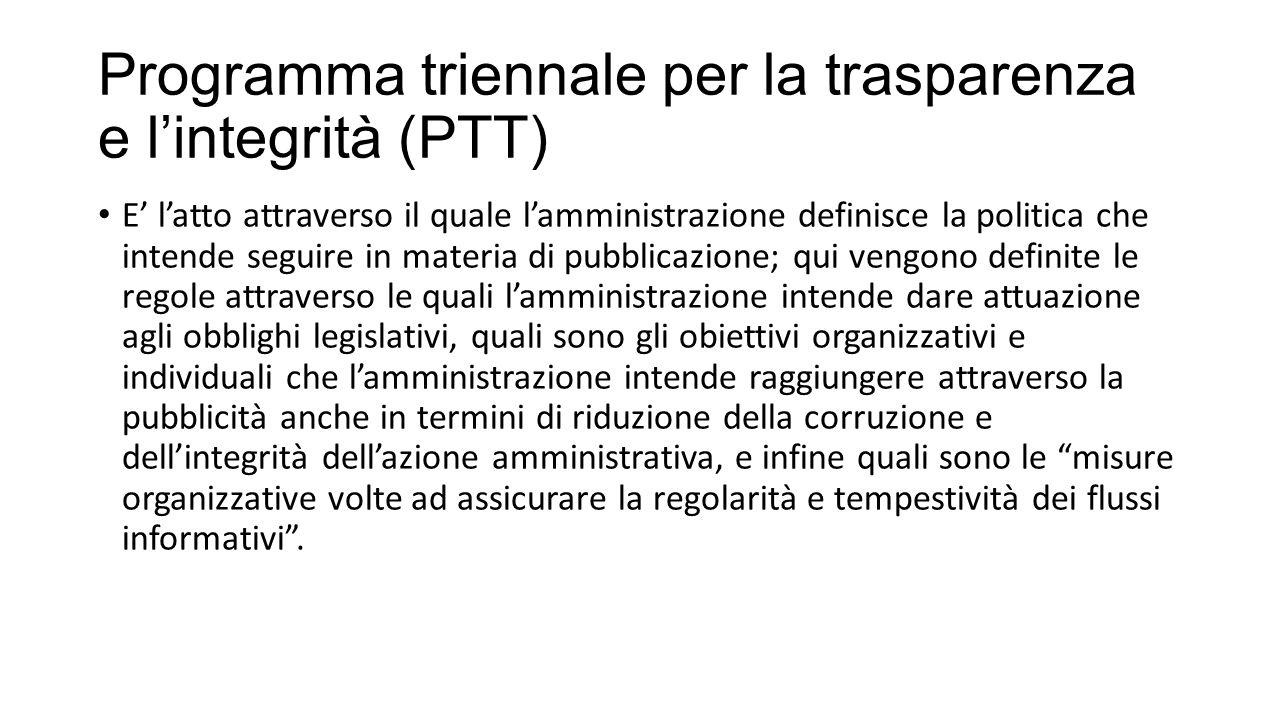 Programma triennale per la trasparenza e l'integrità (PTT)