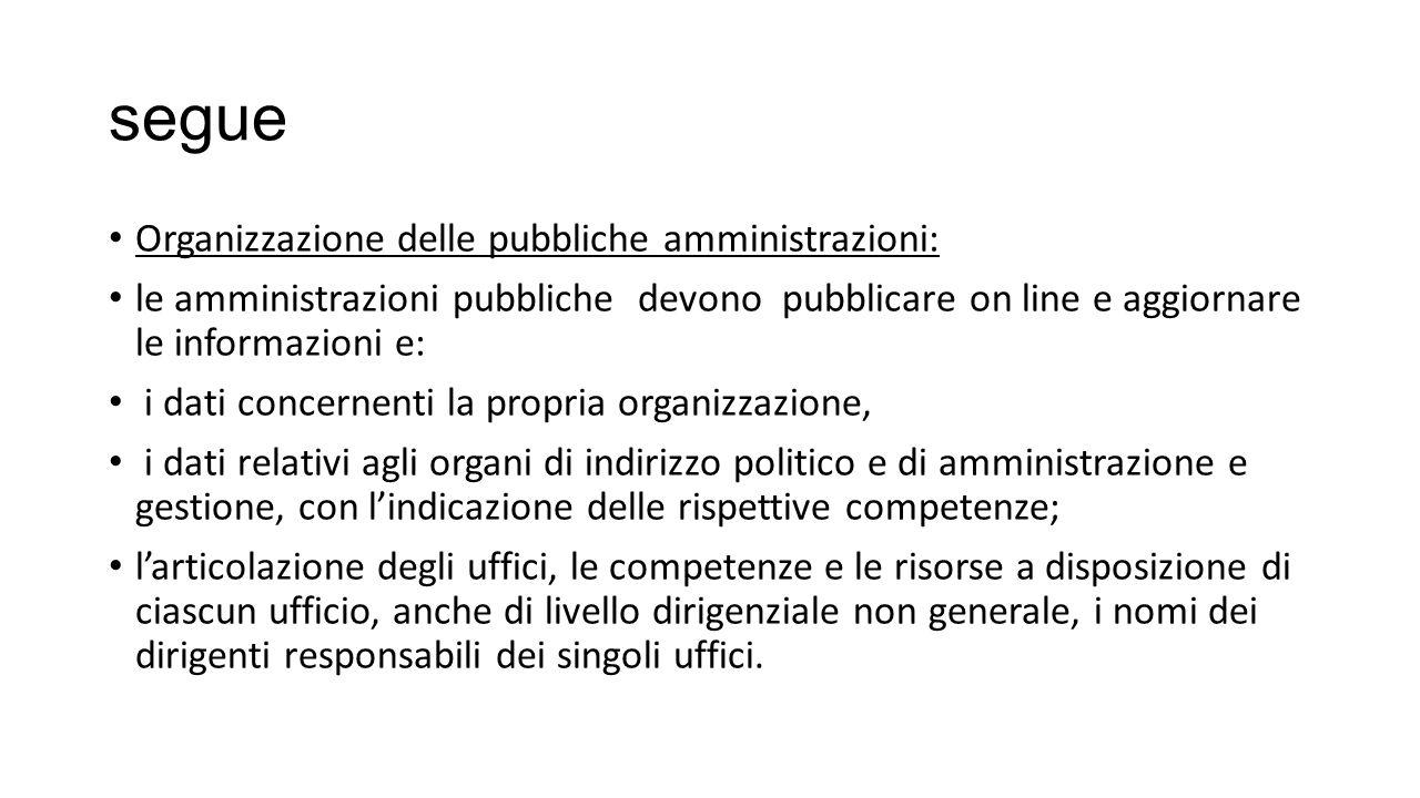 segue Organizzazione delle pubbliche amministrazioni: