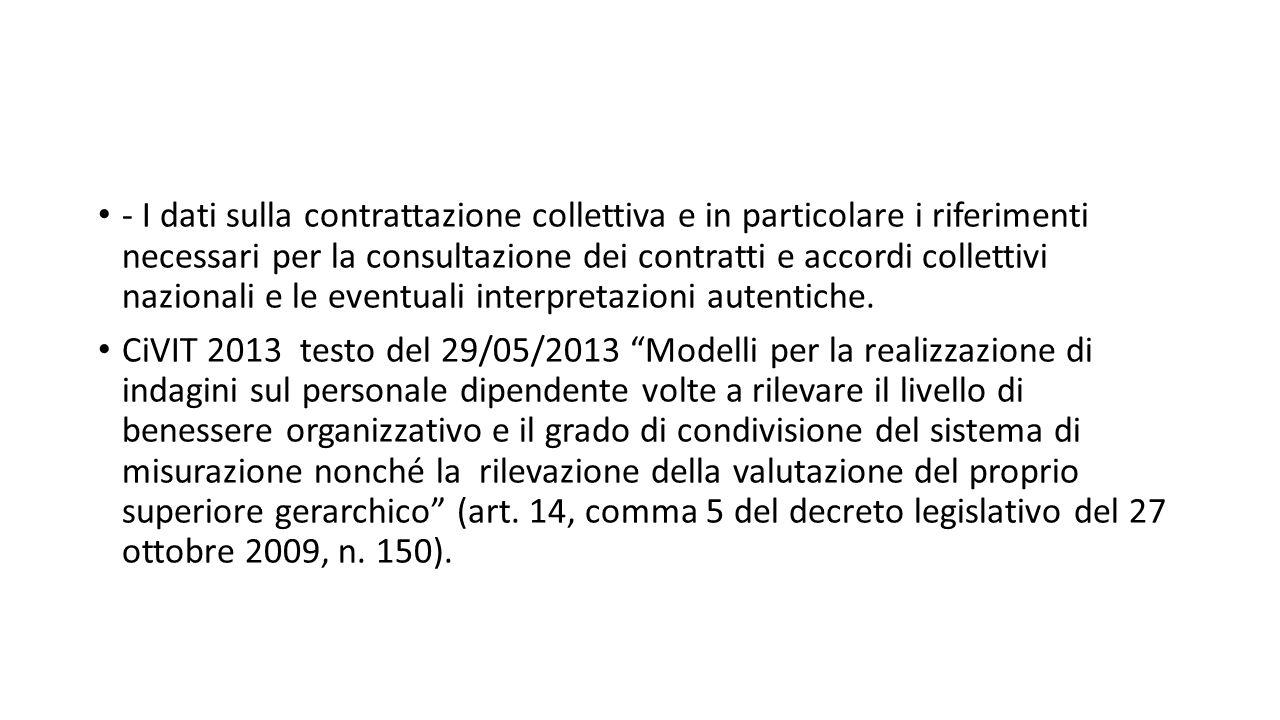 - I dati sulla contrattazione collettiva e in particolare i riferimenti necessari per la consultazione dei contratti e accordi collettivi nazionali e le eventuali interpretazioni autentiche.
