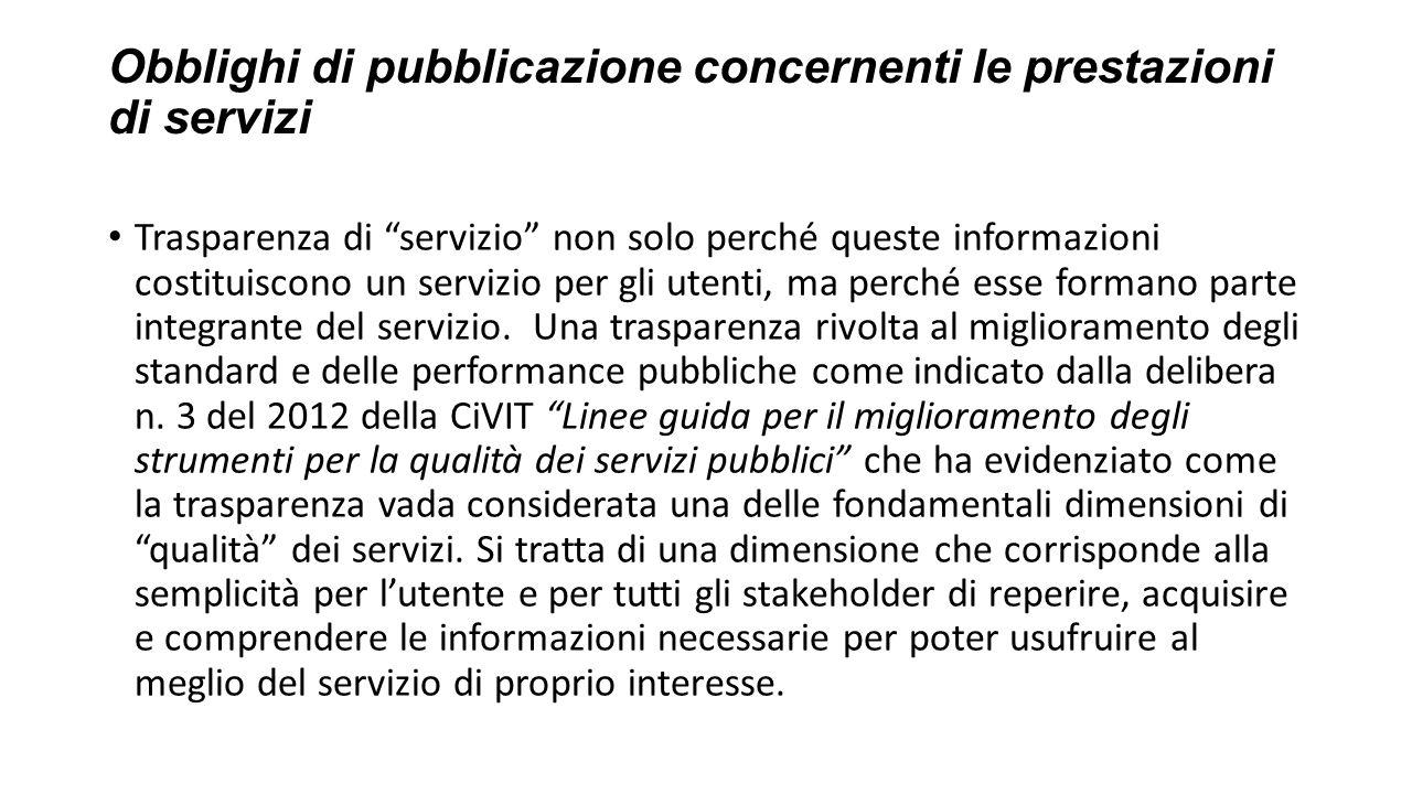 Obblighi di pubblicazione concernenti le prestazioni di servizi