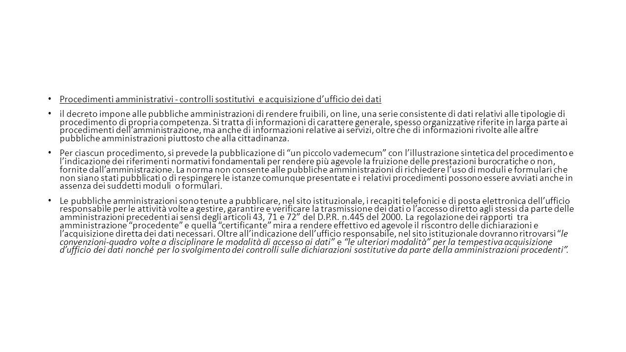 Procedimenti amministrativi - controlli sostitutivi e acquisizione d'ufficio dei dati