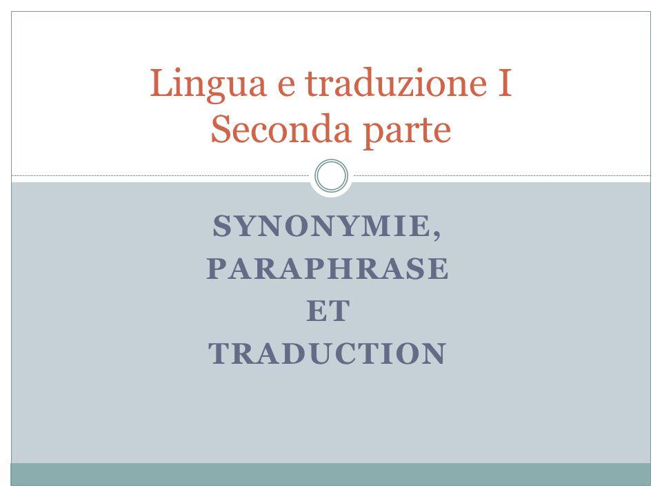 Lingua e traduzione I Seconda parte