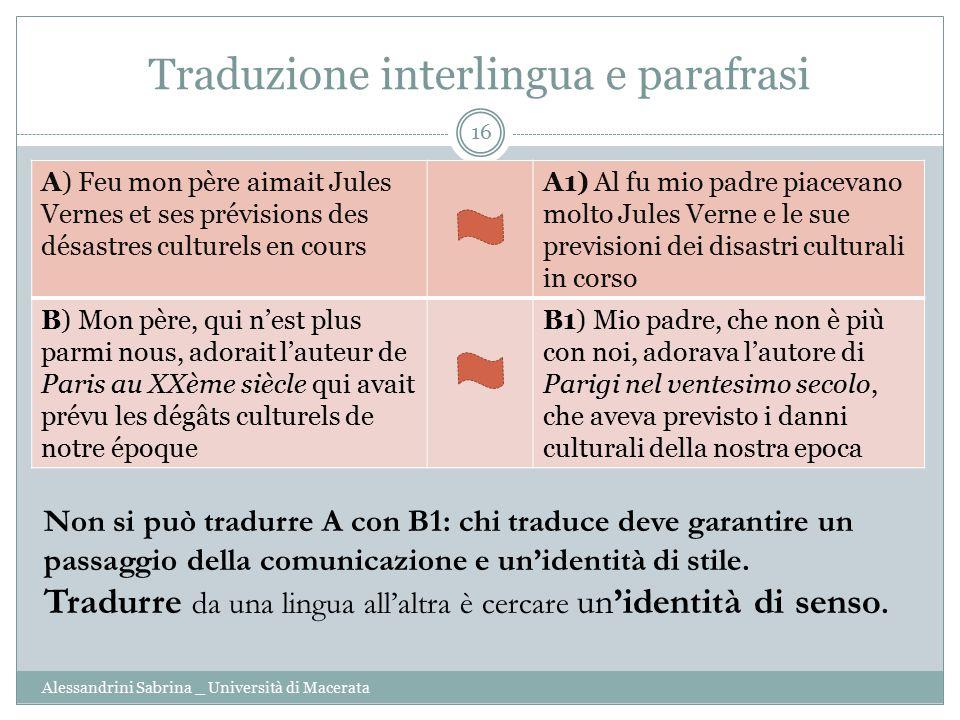 Traduzione interlingua e parafrasi