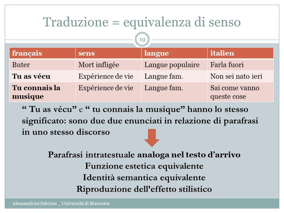 Traduzione = equivalenza di senso
