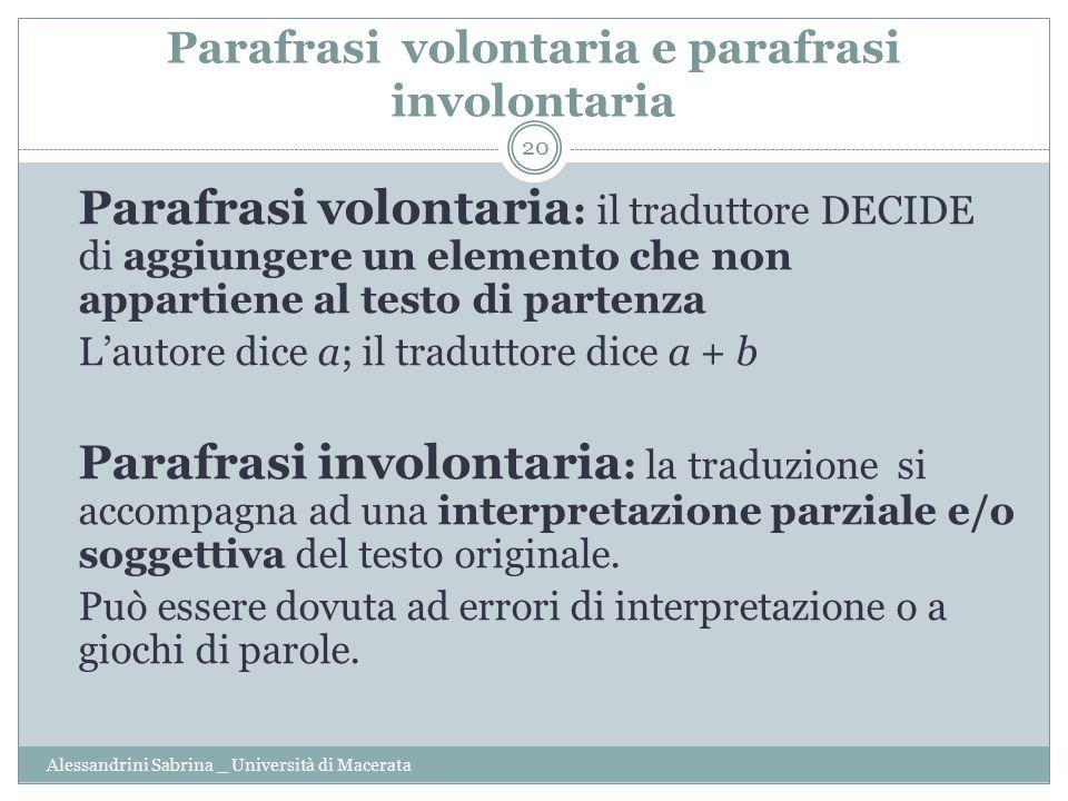 Parafrasi volontaria e parafrasi involontaria
