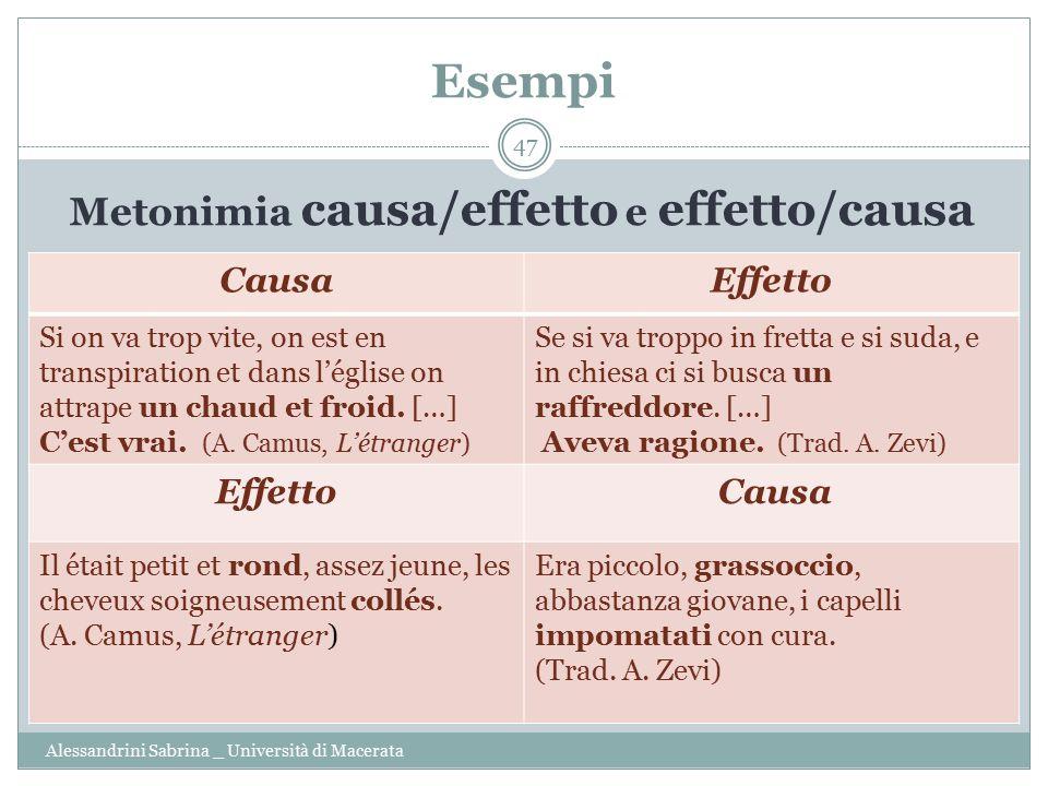 Metonimia causa/effetto e effetto/causa