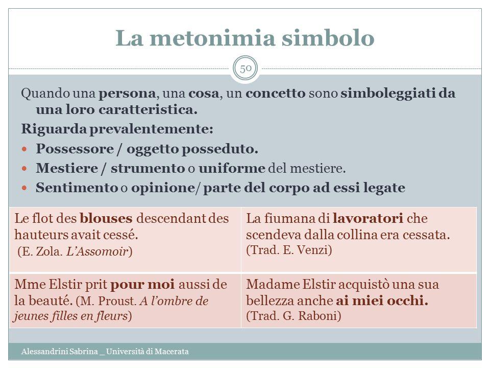 La metonimia simbolo Quando una persona, una cosa, un concetto sono simboleggiati da una loro caratteristica.