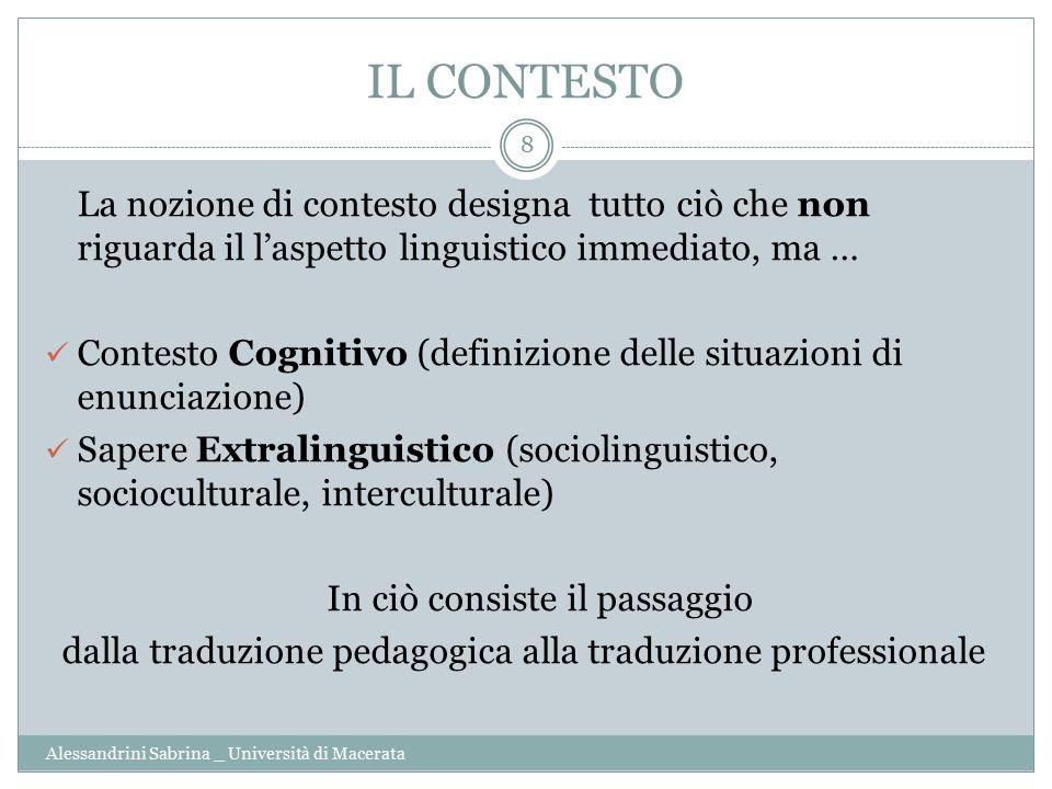 IL CONTESTO La nozione di contesto designa tutto ciò che non riguarda il l'aspetto linguistico immediato, ma …