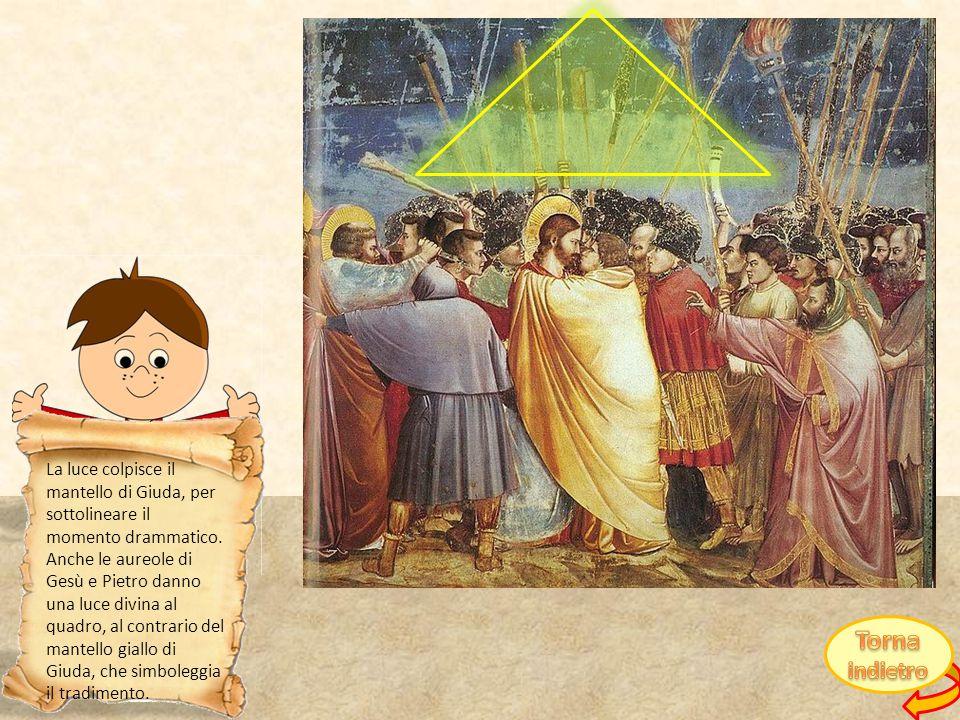 La luce colpisce il mantello di Giuda, per sottolineare il momento drammatico. Anche le aureole di Gesù e Pietro danno una luce divina al quadro, al contrario del mantello giallo di Giuda, che simboleggia il tradimento.