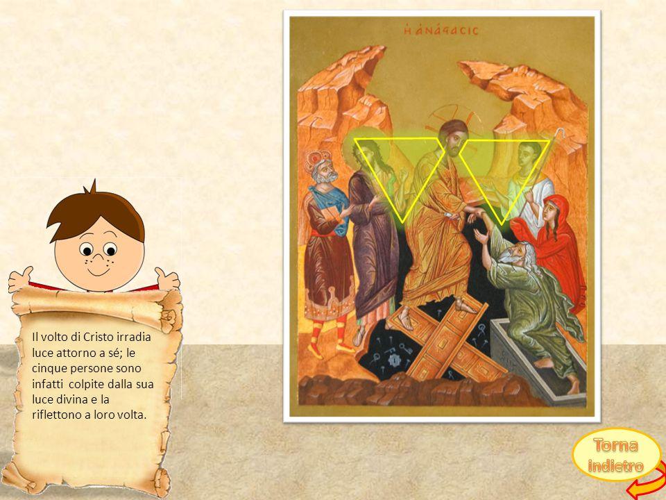 Il volto di Cristo irradia luce attorno a sé; le cinque persone sono infatti colpite dalla sua luce divina e la riflettono a loro volta.