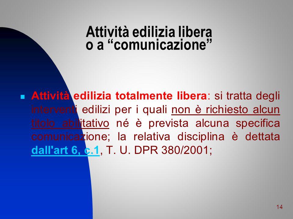 Attività edilizia libera o a comunicazione