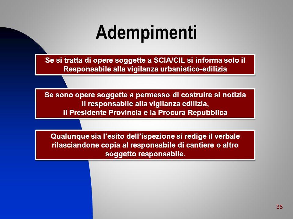 Adempimenti Se si tratta di opere soggette a SCIA/CIL si informa solo il. Responsabile alla vigilanza urbanistico-edilizia.