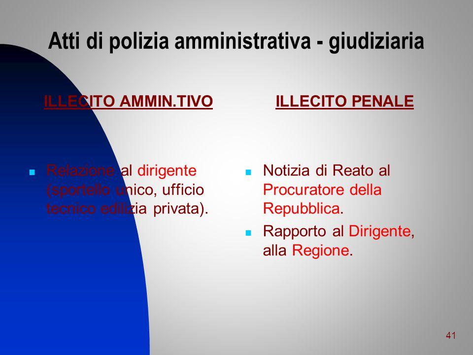 Atti di polizia amministrativa - giudiziaria