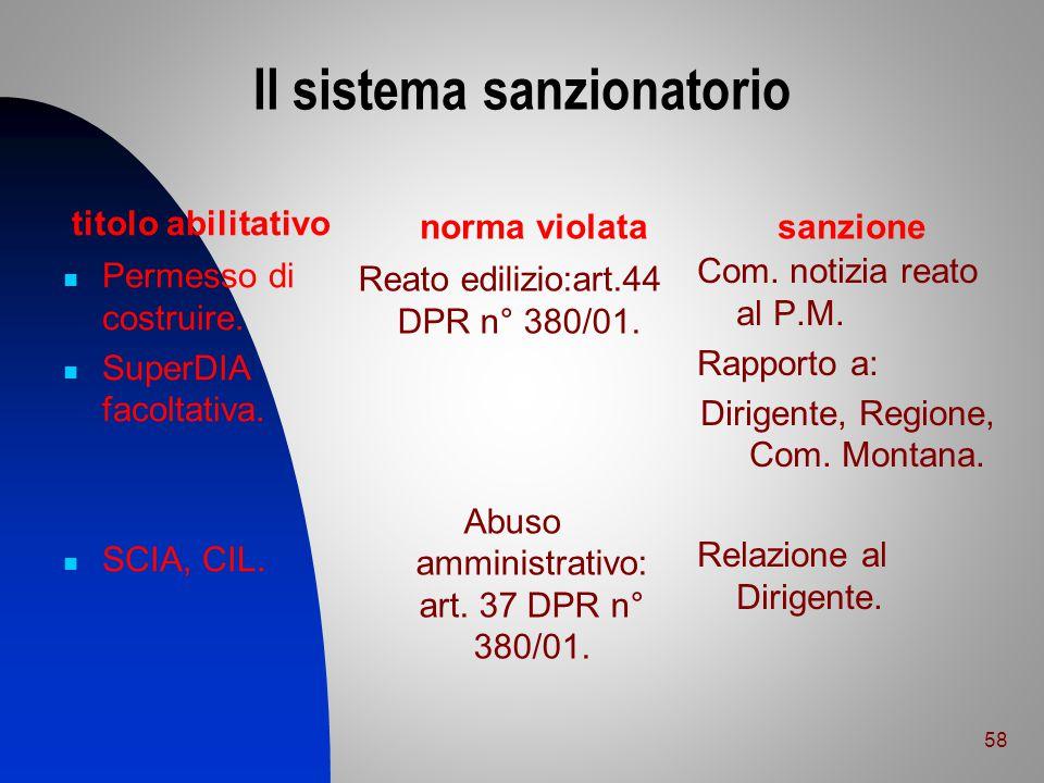 Il sistema sanzionatorio