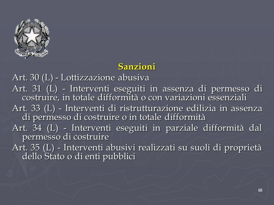 Sanzioni Art. 30 (L) - Lottizzazione abusiva.