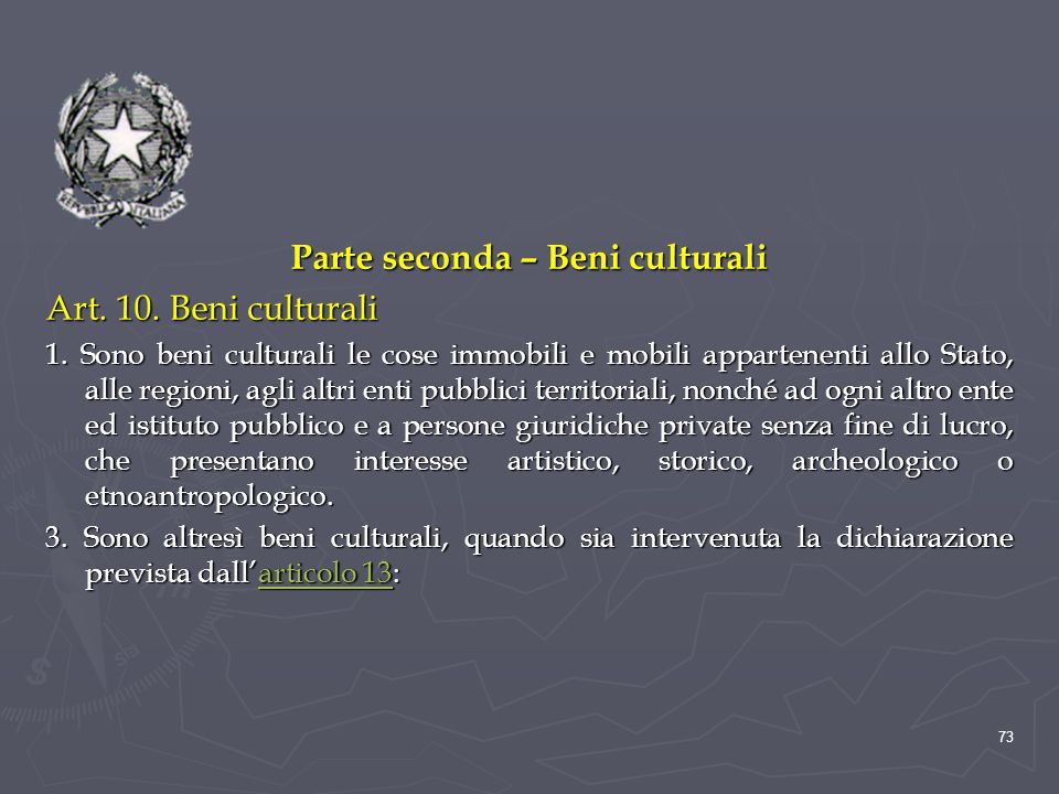 Parte seconda – Beni culturali