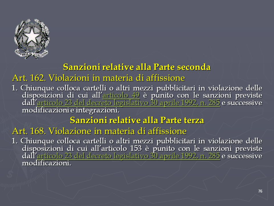 Sanzioni relative alla Parte seconda