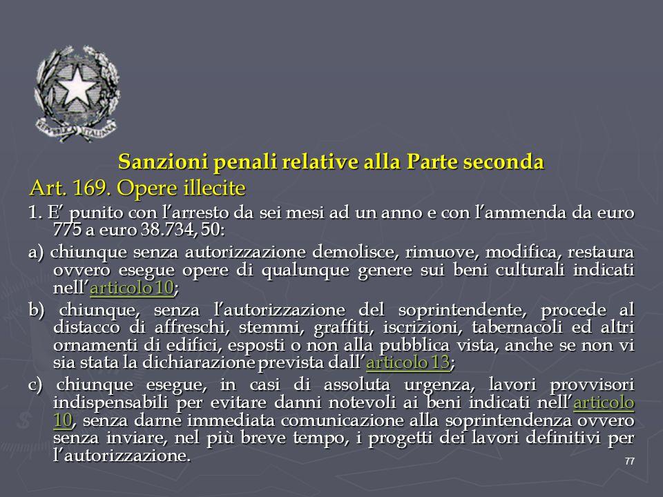 Sanzioni penali relative alla Parte seconda