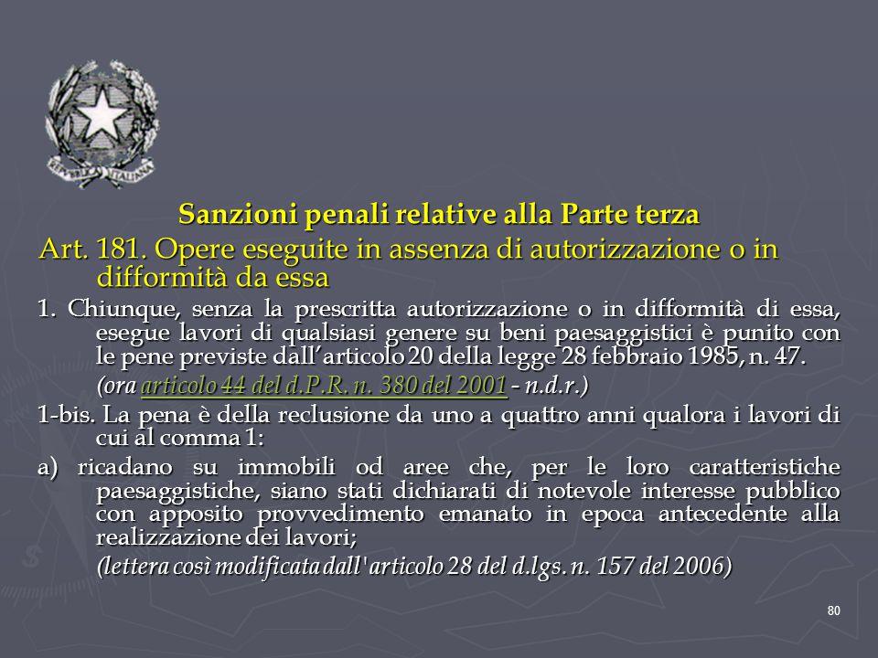 Sanzioni penali relative alla Parte terza
