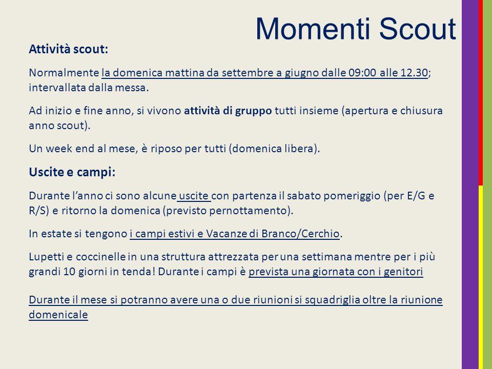 Momenti Scout Attività scout: Uscite e campi: